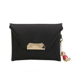 Women's Clutch Solid All Match Bear Pendant Square Cover Casual Bag -