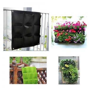 Large 9 Pockets Hanging Flower Pot Polyester Wall-Mounted Vertical Gardening Flower Pot Planting Bag Living Indoor Wall -