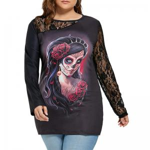 2017 Halloween Impression Col Rond Manches Longues Dentelle Splice Blouse -