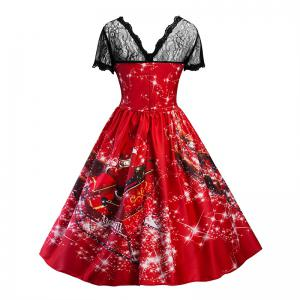 Dentelle Imprimer Santa Claus Col rond Splicing Fashion Dress -