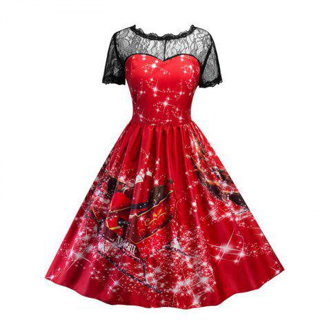 Dentelle Imprimer Santa Claus Col rond Splicing Fashion Dress