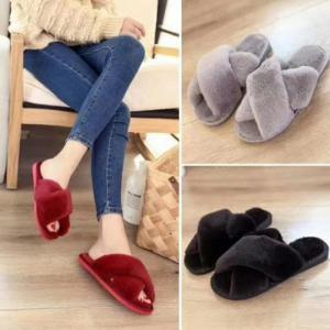 Faux Fur Overlay Flat Slippers -