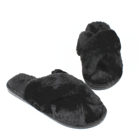 Latest Faux Fur Overlay Flat Slippers