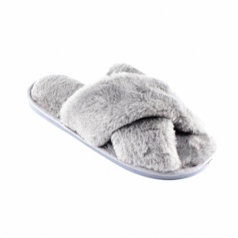 Online Faux Fur Overlay Flat Slippers
