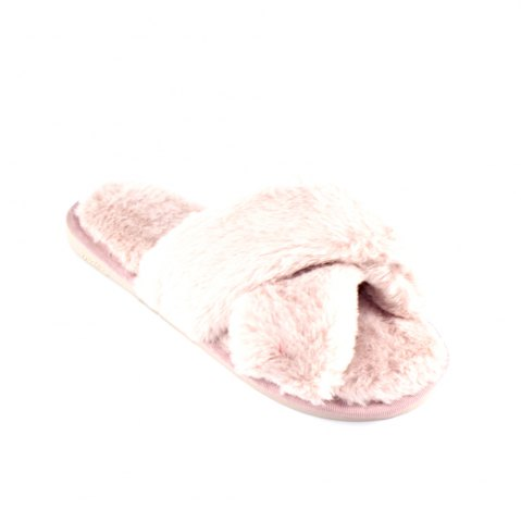 Shops Faux Fur Overlay Flat Slippers