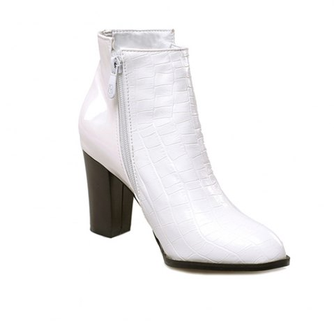 Miss Shoe ASCPS-10 Thick High Heels with A Round Head Alligator Fashion - White 36