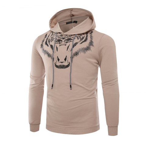 Trendy Tiger Man Hoodie Printing Fashion Leisure Set