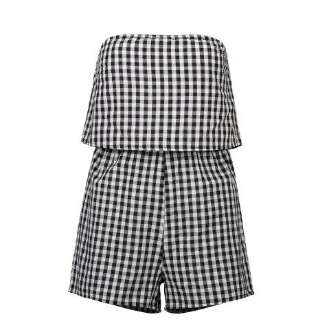 Affordable Summer Ladies Small Check Black and White Sexy Jumpsuit