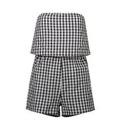Summer Ladies Small Check Black and White Sexy Jumpsuit -