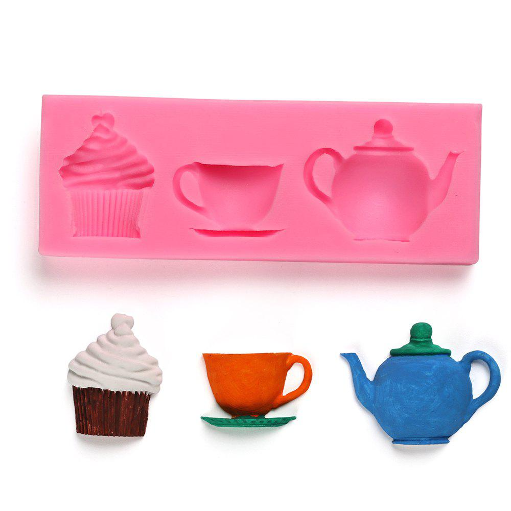 3D Teapot Cup Cupcake Shape Cake Silicone Mold Sugar Chocolate Candy Jello Fondant Cake Decoration Tool 242815101