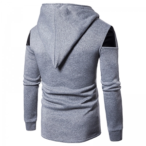 New Men'S Oblique Zipper Hoodie Irregular Fashion Fight Leather Jacket -