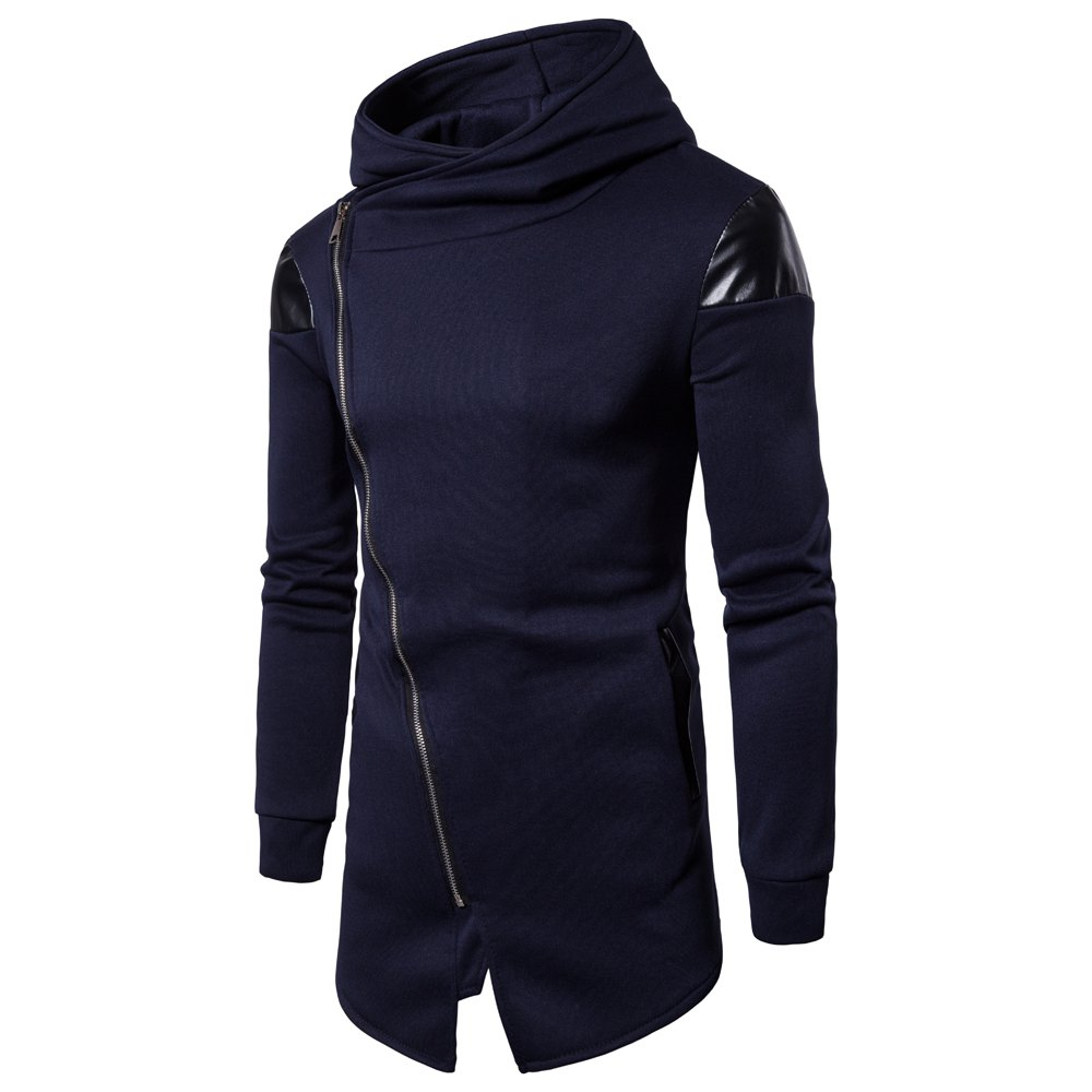 Sale New Men'S Oblique Zipper Hoodie Irregular Fashion Fight Leather Jacket