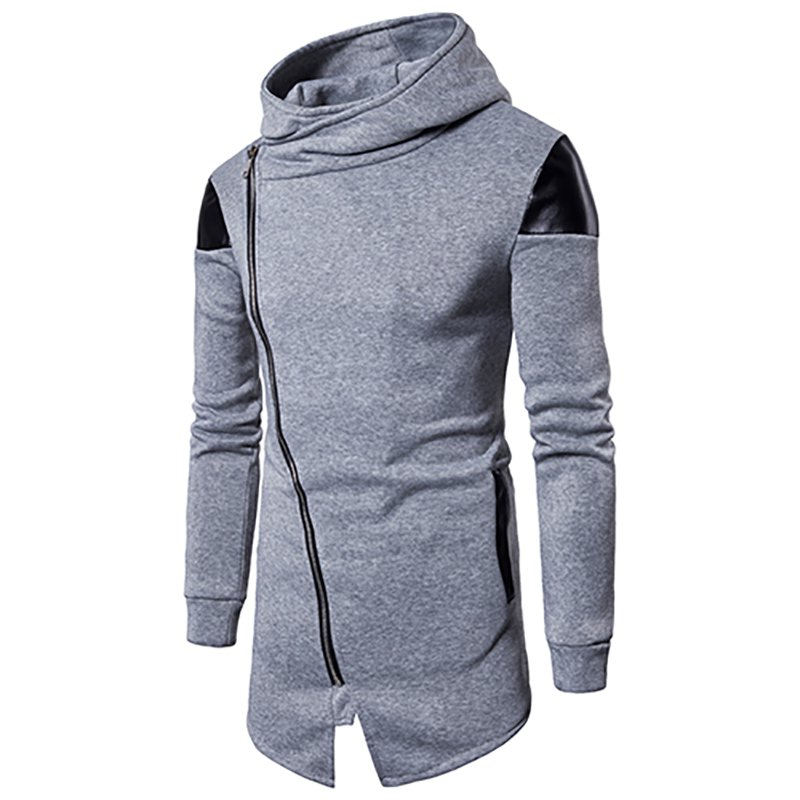 Best New Men'S Oblique Zipper Hoodie Irregular Fashion Fight Leather Jacket