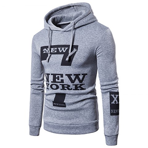 Online Selling Men'S Casual New York Letters Printing Sweater Hoodie