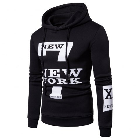 New Selling Men'S Casual New York Letters Printing Sweater Hoodie