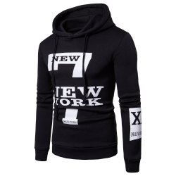 Selling Men'S Casual New York Letters Printing Sweater Hoodie -