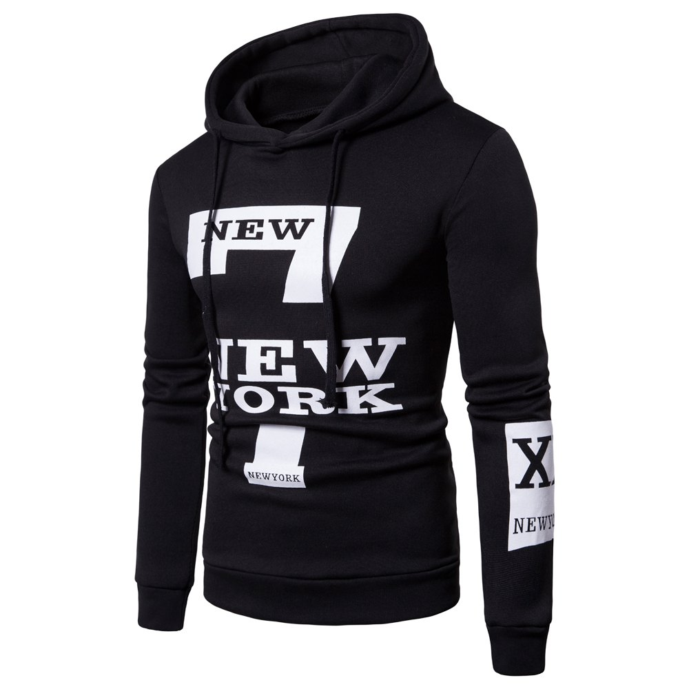 Cheap Selling Men'S Casual New York Letters Printing Sweater Hoodie