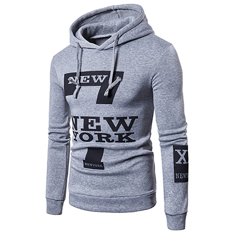 Best Selling Men'S Casual New York Letters Printing Sweater Hoodie