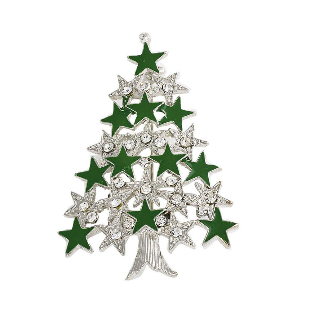 Chic Rhinestone Christmas Tree Charms Pendants Pins Brooch Women Girls Brooches Pins Decoration Xmas Merry Xmas Gifts