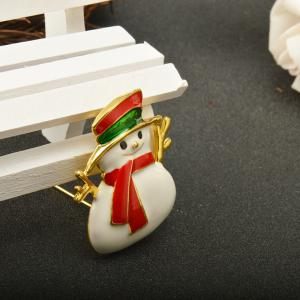 Red Enameled Snowman Brooch Pins for Christmas in Gold Color Plated -