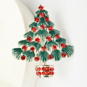 Colorful Christmas Tree Brooches New Beautiful Crystal Gold Color Brooch Pin Jewelry For Xmas Gift -