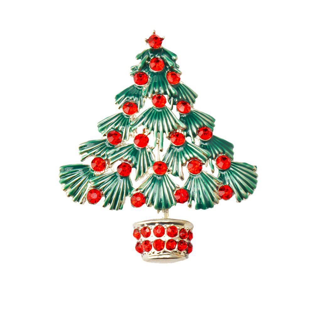 Store Colorful Christmas Tree Brooches New Beautiful Crystal Gold Color Brooch Pin Jewelry For Xmas Gift