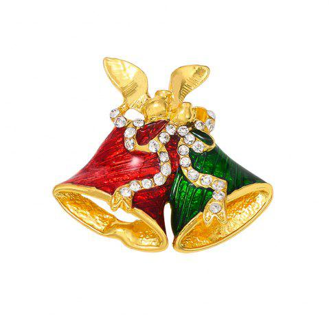 Fancy Christmas Gifts Pins And Brooches For Women Small Bell Heart Rhinestone Brooch