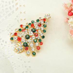 Colorful Christmas Tree Brooches New Beautiful Crystal Gold Color Brooch Pin Jewelry for Woman -