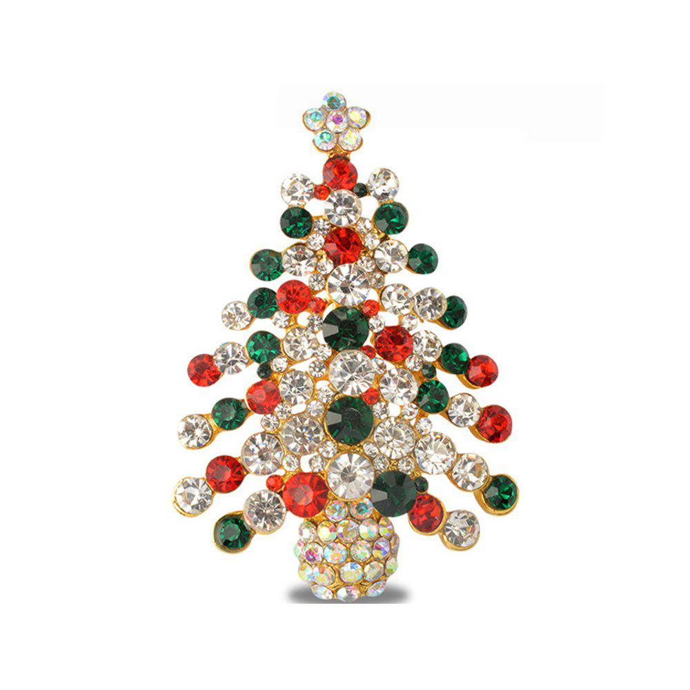 Chic Colorful Christmas Tree Brooches New Beautiful Crystal Gold Color Brooch Pin Jewelry for Woman