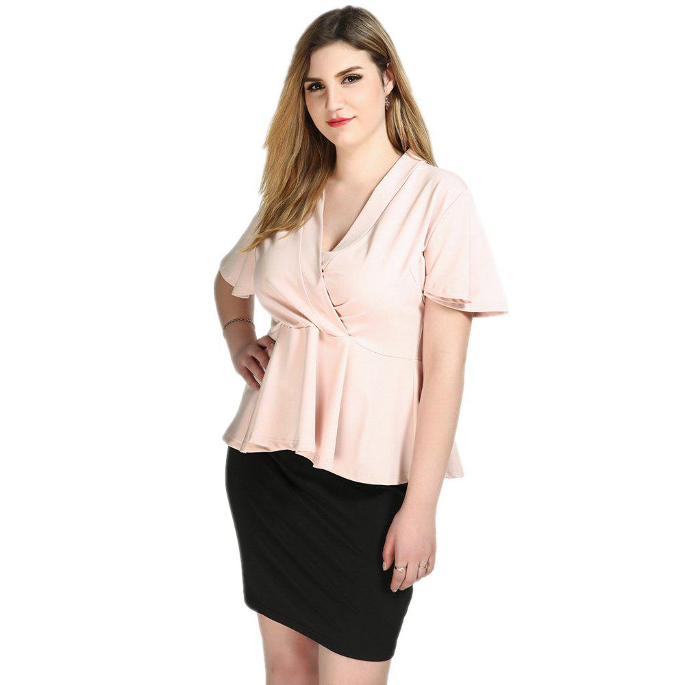 1d234ccb1c9b0 Trendy Cute Ann Women s Sexy V-neck Peplum hem Design Plus Size Formal  Blouse