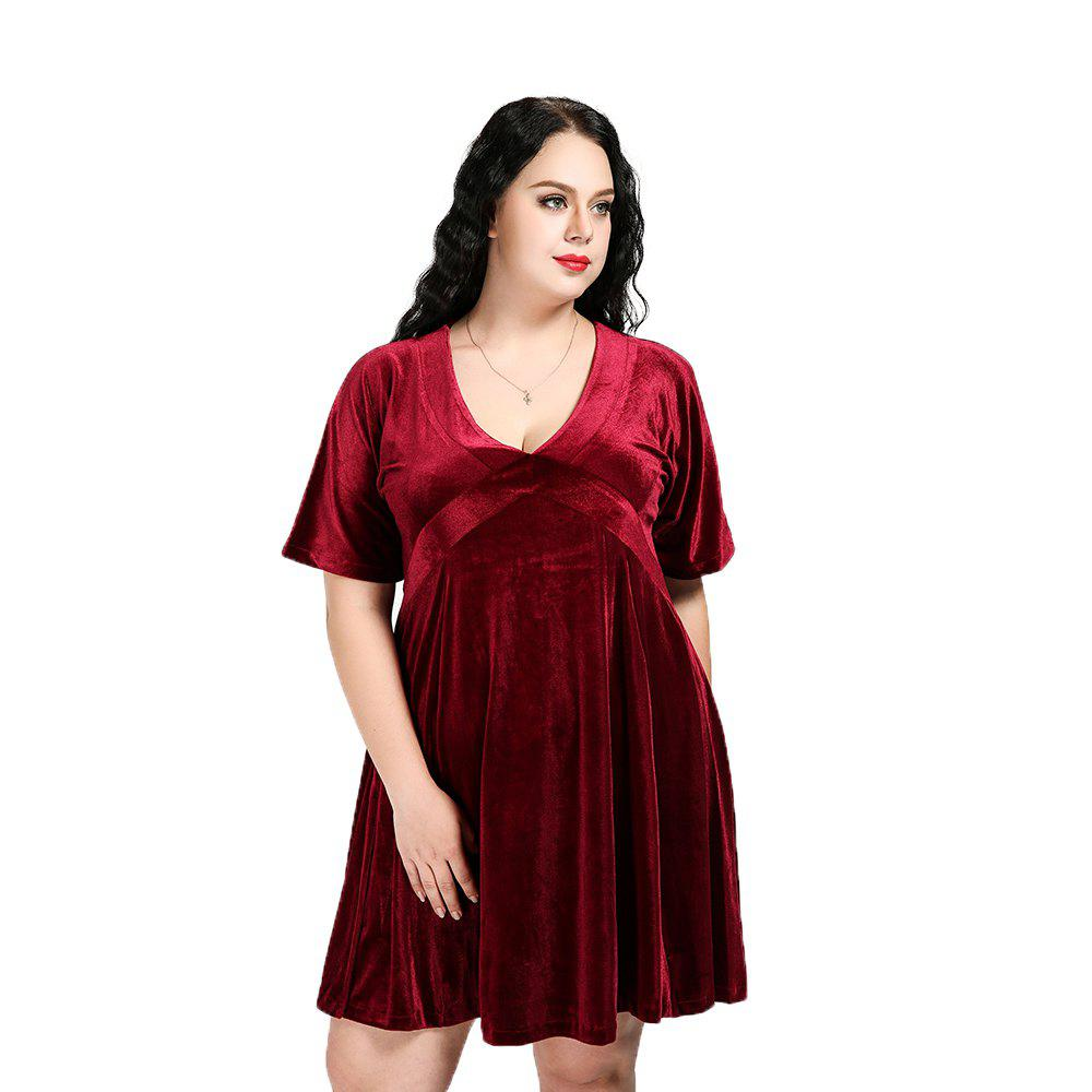 8a3c8968895 Best Cute Ann Women s Sexy Short Sleeve Plus Size Fit And Flare Velvet Dress