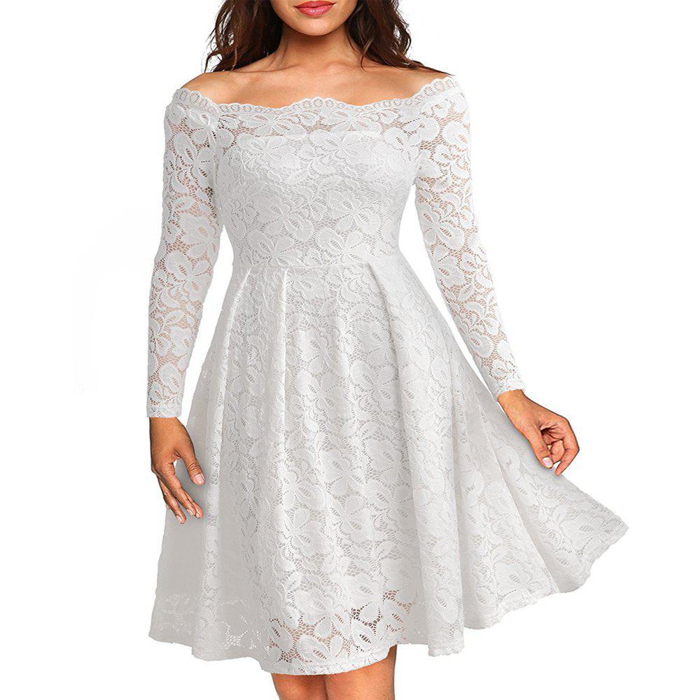 Sale New Style Vintage Lace Women Off Shoulder Long Sleeve Casual Evening Party Plus Size A-Line Dress
