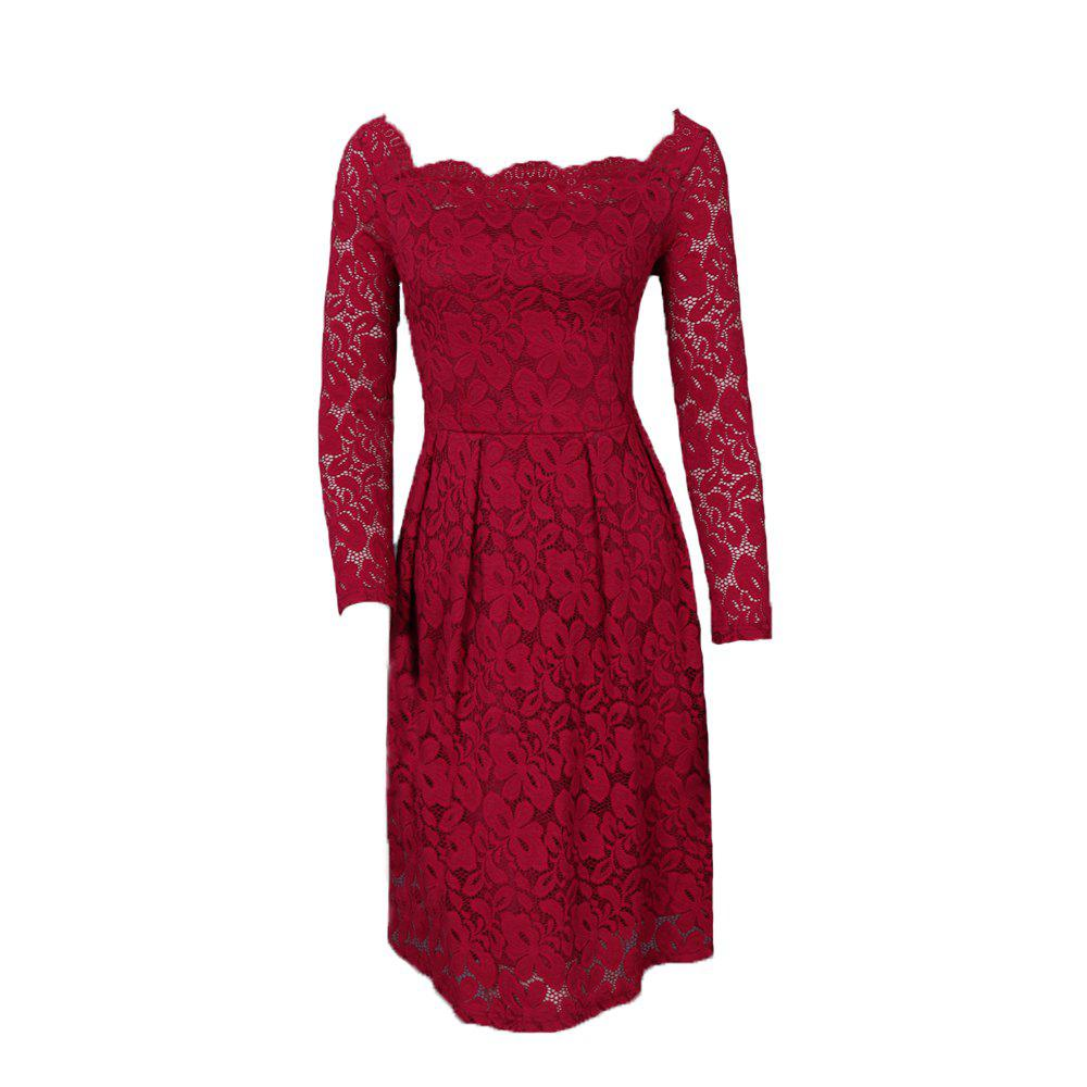 Chic New Style Vintage Lace Women Off Shoulder Long Sleeve Casual Evening Party Plus Size A-Line Dress