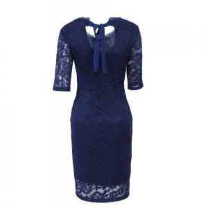 New Style Elegant Women Summer  Half Sleeve O Neck Sexy  Party Knee Length Pencil Dress -