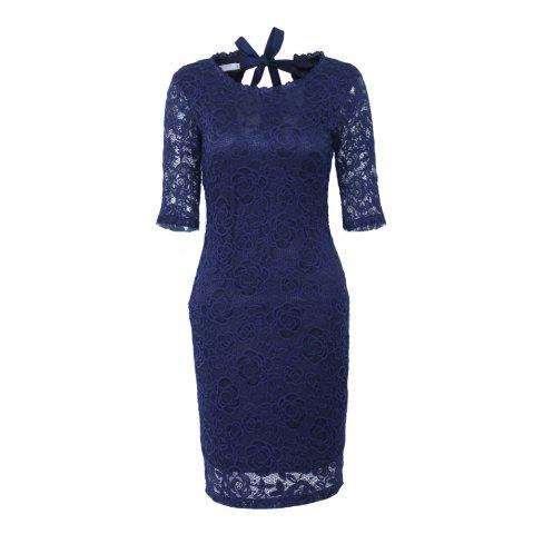 Discount New Style Elegant Women Summer  Half Sleeve O Neck Sexy  Party Knee Length Pencil Dress