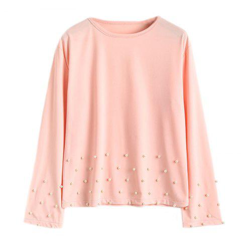 Sale Women's Fashion Round Neck Solid Color Beaded Long-Sleeved T-Shirt