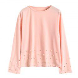 Women's Fashion Round Neck Solid Color Beaded Long-Sleeved T-Shirt -