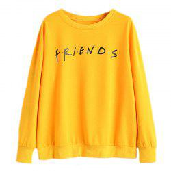 Women's Stylish Round Neck Large Size Letters Printed Long-Sleeved Sweatshirt -