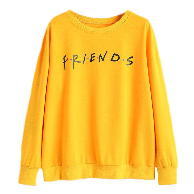 Store Women's Stylish Round Neck Large Size Letters Printed Long-Sleeved Sweatshirt