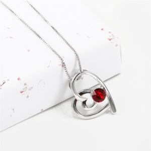Double Heart Attachment Red Pendant White Gold Sweater Necklace -