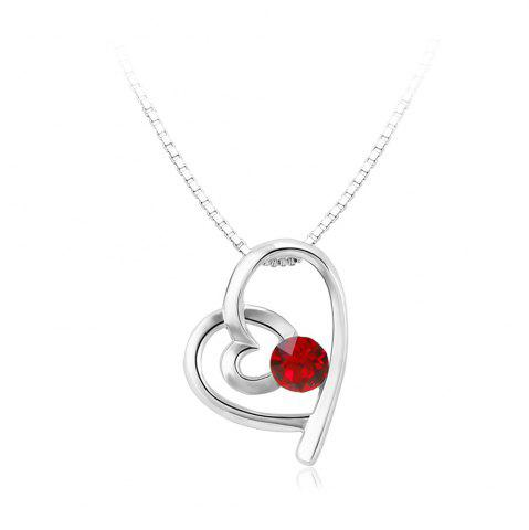 New Double Heart Attachment Red Pendant White Gold Sweater Necklace
