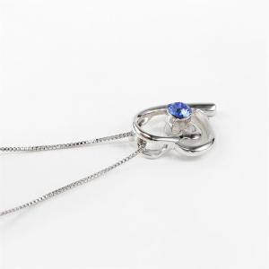 Double Heart Attachment Blue Pendant White Gold Sweater Necklace -