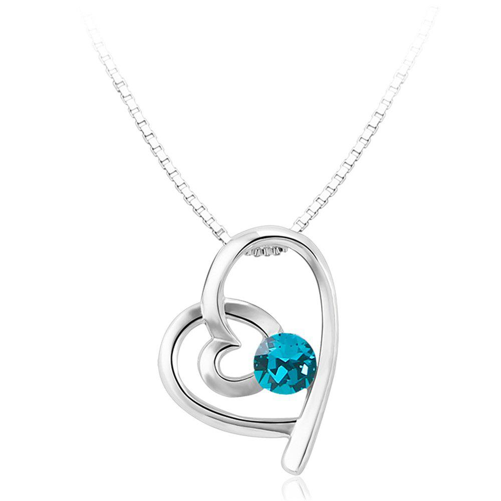 Sale Double Heart Attachment Blue Zircon Pendant White Gold Sweater Necklace