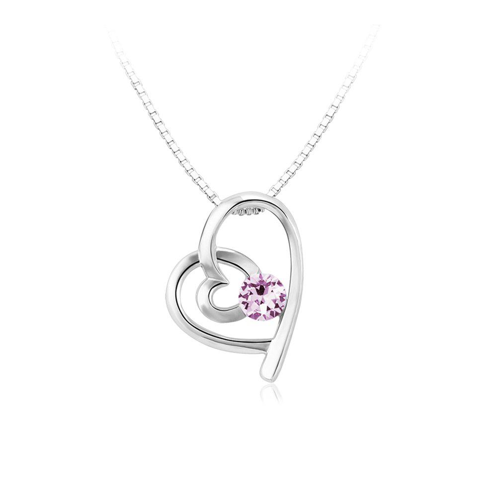 Outfits Double Heart Attachment Lilac Pendant Romantic Love White Gold Sweater Necklace