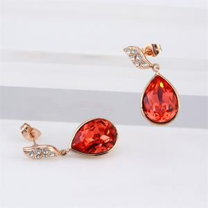 Morning Dew Lotus Red Vintage Sexy Rosegold Lady Earrings -