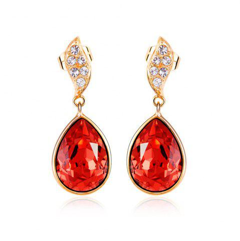 Fancy Morning Dew Lotus Red Vintage Sexy Rosegold Lady Earrings