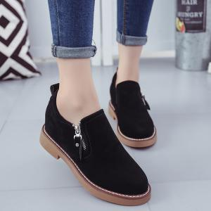 Round Head Side Zipper Low Heel Women's Shoes -