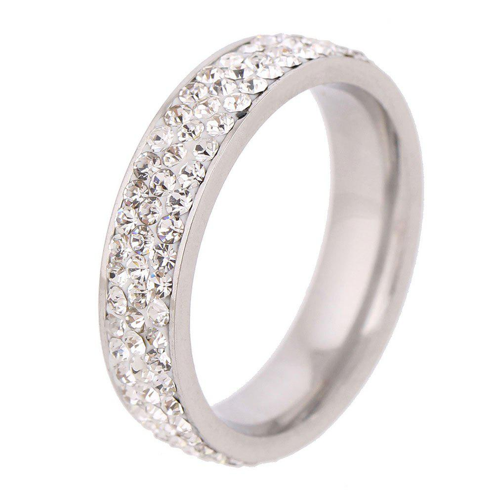Store 3 Rows of White Czech Diamond New Fashion Ladies Personalized Titanium Steel Ring