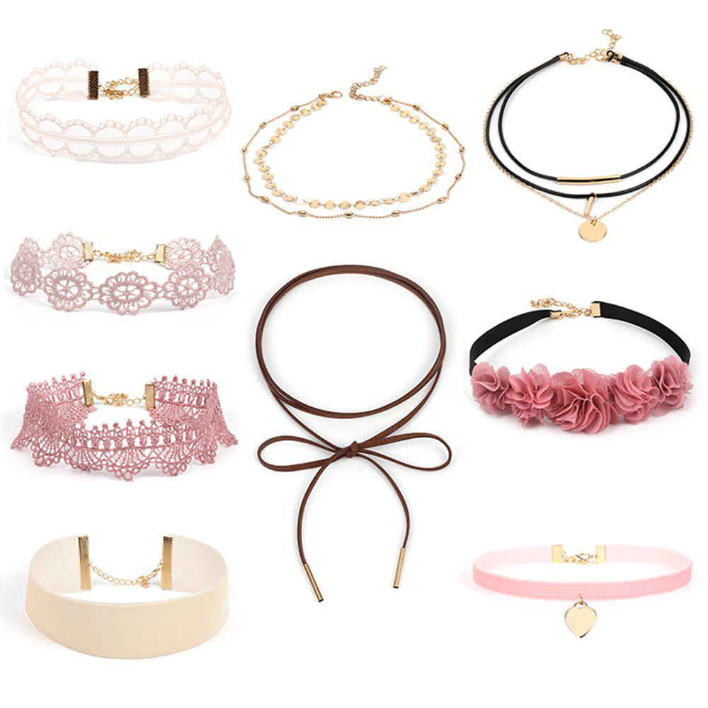 Discount Lace Choker Collar Set Pink Bowknot Velvet New Necklace