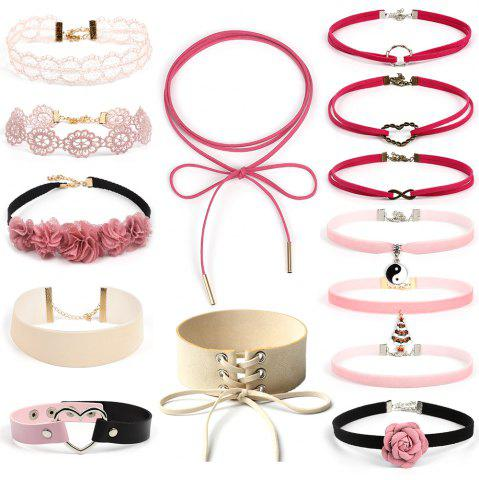 Fancy New Choker Collar Love Bow Christmas Set Sweet Pink Velvet Necklace
